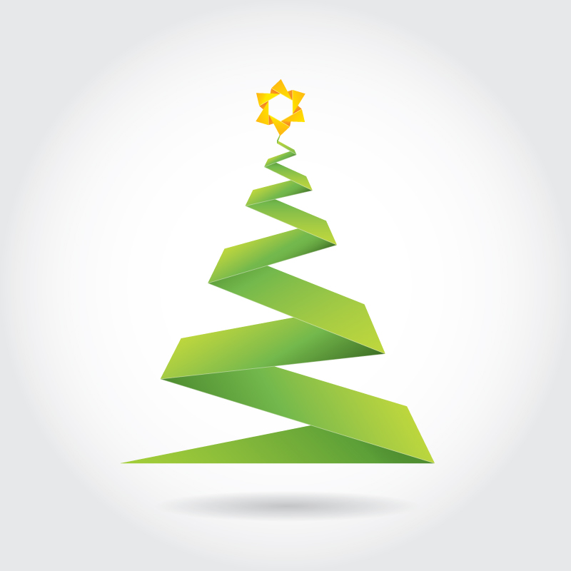 Christmas Tree Vector Image.Free Origami Christmas Tree Vector Ian Barnard