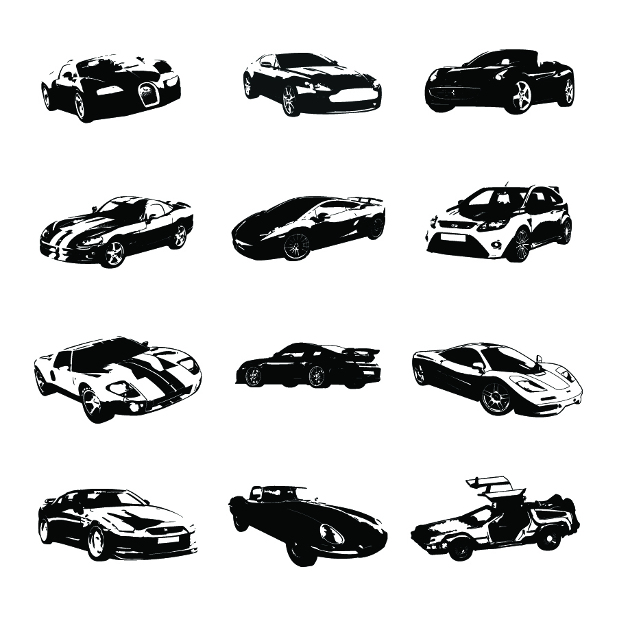 Sports car silhouette vector 15