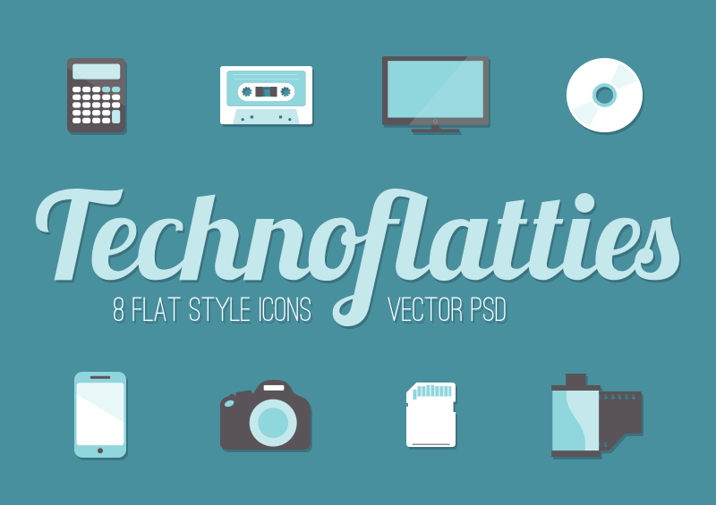 Flat Technology Icons Vector PSD