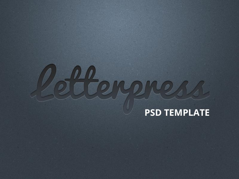 letterpress type PSD template